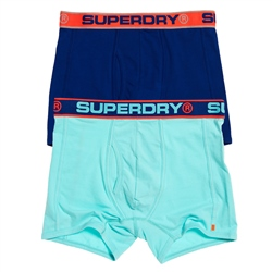 Superdry Sport 2 Pack Boxers - Mint & Blue