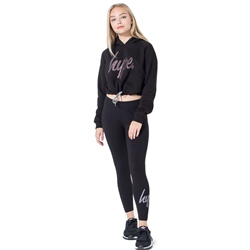 Hype Multi Glitter Script Leggings - Black