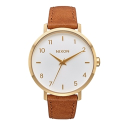 Nixon Arrow Leather Watch - Gold & White