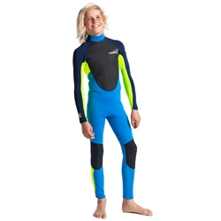 C-Skins Element 3/2mm Junior Flatlock Back Zip Wetsuit - Cyan, Yellow & Navy (2020)