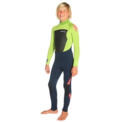C-Skins Legend 4/3mm Junior GBS Back Zip Wetsuit - Ink Blue, Lime & Red (2020)