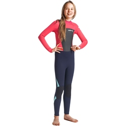 C-Skins Legend 4/3mm Junior GBS Back Zip Wetsuit - Slate, Coral & Ice Blue (2020)