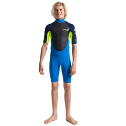 C-Skins Element Junior Flatlock 3/2mm Shorty Wetsuit - Cyan, Yellow & Navy (2020)
