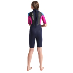 C-Skins Element Junior Flatlock 3/2mm Shorty Wetsuit - Slate, Magenta & Powder Blue (2020)