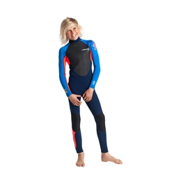 C-Skins Element 3/2mm Tiny Tots Flatlock Back Zip Wetsuit - Navy, Flo Red & Cyan (2020)