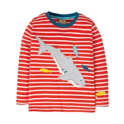 Frugi Discovery Applique T-Shirt - Red & Shark