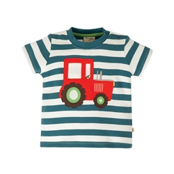 Frugi Little Wheels Applique T-Shirt - Red Tractor & Blue