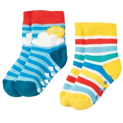 Frugi Grippy Socks 2 Pack  - Rainbow
