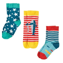 Frugi Rock My Socks 3 Pack - Shark