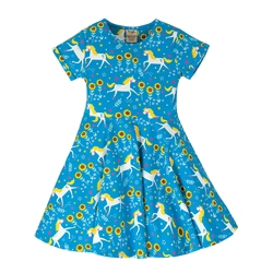 Frugi Spring Skater Dress - Unicorn