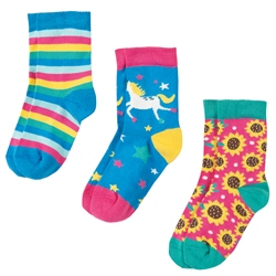 Frugi Susie Socks 3 Pack - Unicorn