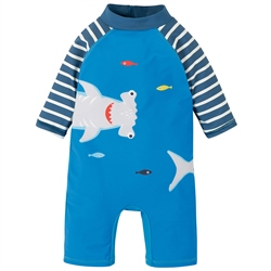 Frugi Little Sun Safe Sunsuit - Blue & Shark