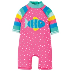 Frugi Little Sun Safe Sunsuit - Pink & Fish