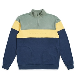 Brixton Cantor 1/2 Zipped Sweat - Cypress & Washed Navy