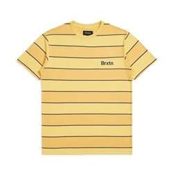 Brixton Hilt Print Knit T-Shirt - Yellow & Washed Navy