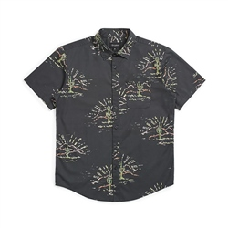 Brixton Charter Print Shirt - Washed Black