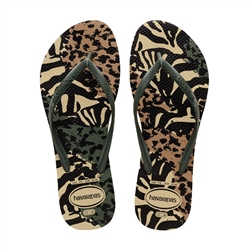 Havaianas Slim Animals Flip Flops - Olive Green