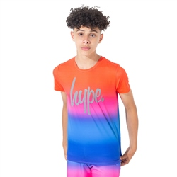 Hype Red Rainbow Fade T-Shirt - Red & Blue