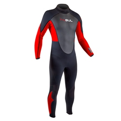 Gul Response Flatlock 3/2mm Back Zip Wetsuit - Black & Red (2020)