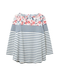 Joules Harbour Lt Print T-Shirt - Cream Blue Floral Border