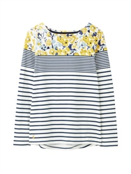 Joules Harbour Print T-Shirt - Cream Blue Floral Border