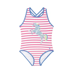 Joules Briony Luxe Swimsuit - Pink Stripe Horse