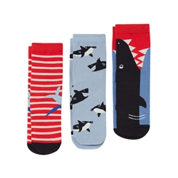 Joules Brilliant Bamboo 3 Pack Socks - Shark Multi