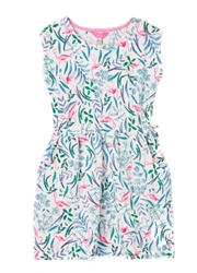 Joules Jude Dress - White Flamingo Ditsy