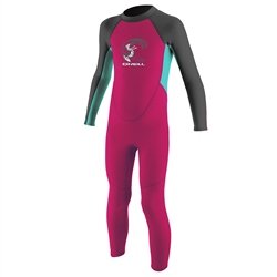 O'Neill Girls Reactor-2 2mm Back Zip Wetsuit  - Berry & Light Aqua (2020)