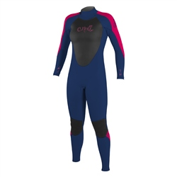 O'Neill Girls Epic 3/2mm Back Zip Wetsuit - Navy & Berry (2020)