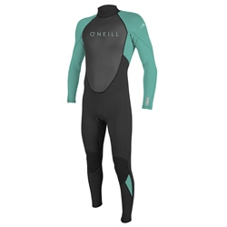 O'Neill Girls Reactor-2 3mm Back Zip Wetsuit - Black & Light Aqua