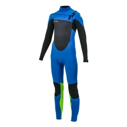 O'Neill Boys Epic 4/3mm Chest Zip Wetsuit - Ocean, Black & Dayglo (2020)