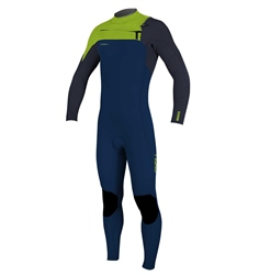 O'Neill Boys HyperFreak 4mm Chest Zip Wetsuit  - Abyss & Dayglo (2020)