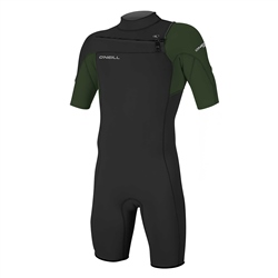 O'Neill Hammer Chest Zip Shorti Wetsuit - Black & Dark Olive