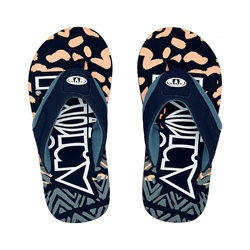 Animal Jekyl Logo Boys Flip Flop - Black & Orange