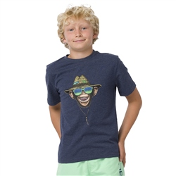 Animal Hang Loose Boys T-Shirt - Indigo Blue Marl
