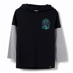 Animal Koal Hooded Boys T-Shirt - Black