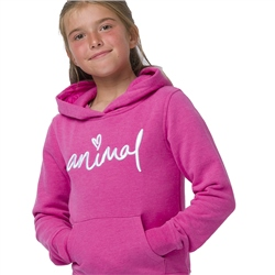 Animal Rachelle Girls Hoody - Raspberry Rose Pink Marl