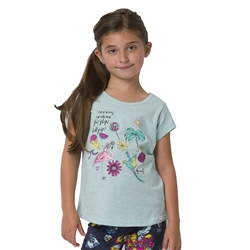 Animal Flossie Girls T-Shirt - Misty Green Marl