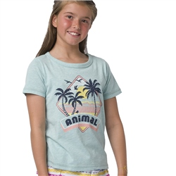 Animal Maui Girls T-Shirt - Misty Green Marl