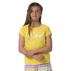 Animal Script Girls T-Shirt - Primrose Yellow