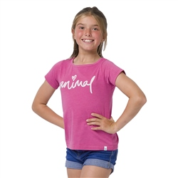 Animal Script Girls T-Shirt - Raspberry Rose Pink Marl