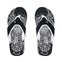 Animal Swish Placement Flip Flop - Black
