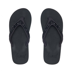 Animal Swish Slim Flip Flop - Raven Black Marl