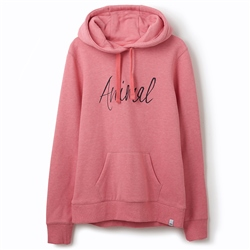 Animal Sketched Hoody - Strawberry Pink Marl