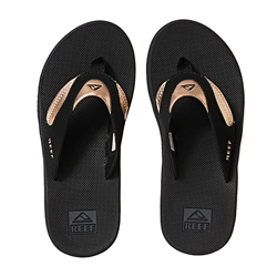 Reef Fanning Flip Flops - Black & Rose Gold