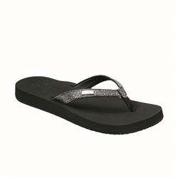 Reef Star Cushion Sassy Flip Flops - Black & Silver