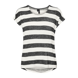 Vero Moda Wide Stripe T-Shirt - Snow White