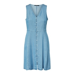 Vero Moda Lina Button Midi Dress - Light Blue Denim