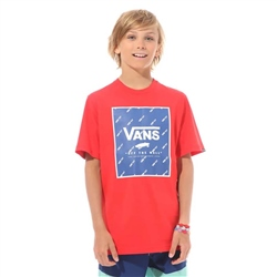 Vans Print Box Boys T-Shirt - Racing Red & Sodalite Blue